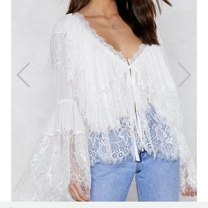 Nasty Gal Lace Me white oversized blouse